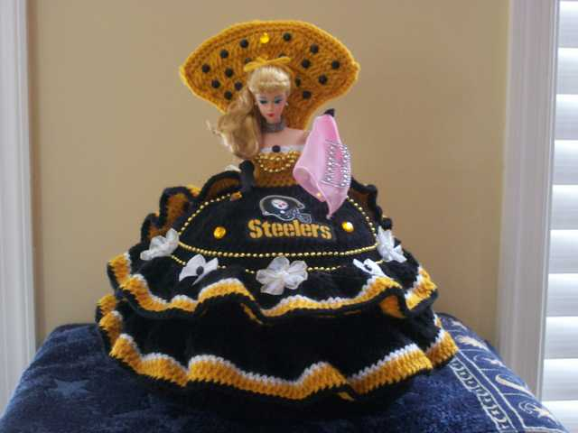 Handmade Hand Crochet Pittsburgh Steelers 1959 Bed Pillow Barbie