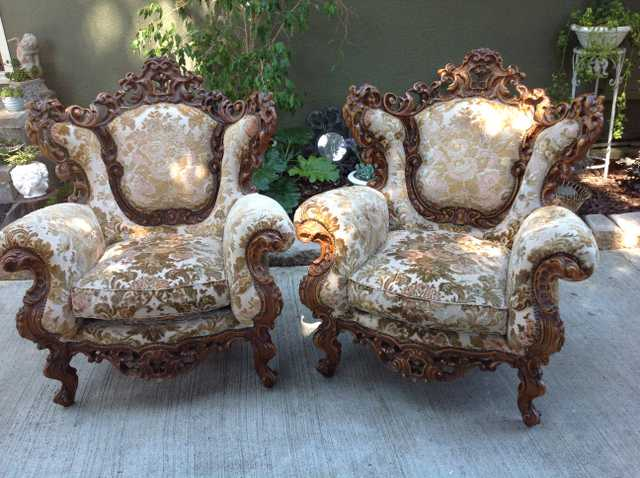 Vintage Italian Fruitwood Rococco Arm Chairs
