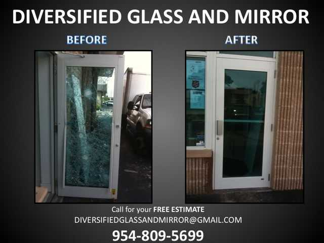 Broward:. Broken Sliding Door Repair Install, Glass Mirror Repair