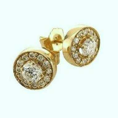 Only 1 Left 14k Yellow Gold Diamonds Stud Earrings