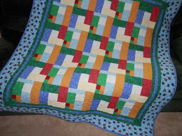 Home Crafted Toddler Quilt A Bright Patch Choo Choo