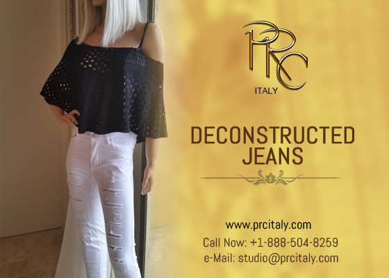 Fashionable Deconstructed Jeans - Prc Italy