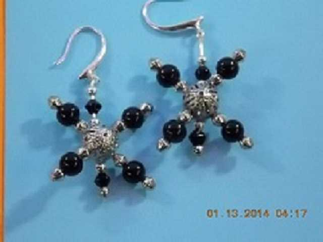 Earrings Black&silver 1 1 / 2in Drop