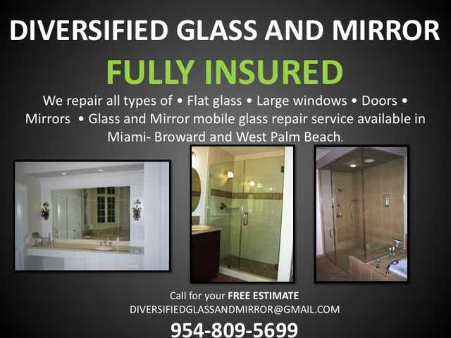 Miami + Cooper City, Fl:. Window Glass Repair, Mirror Removal