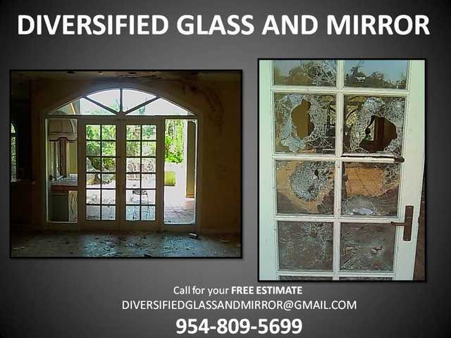 Miami + Sunny Isles, Fl:. Emergency Glass Window Repair, Mirror