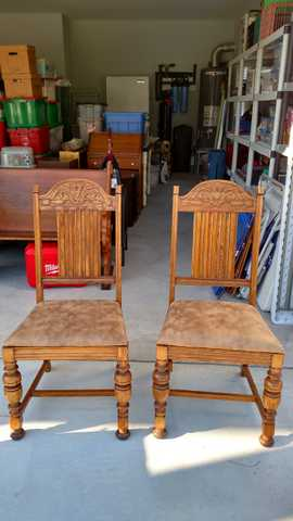 Two Solid Oak Chairs